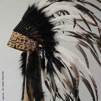 NEW Leopard Leather Front Full Natural White Feather Headdress