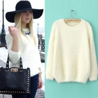 Winter Women Vintage White Long Sleeve Loose Warm Pullover Jumper Knit Sweater E
