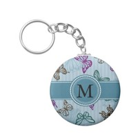 Green and Purple Butterflies on Blue with Monogram Basic Round Button Keychain