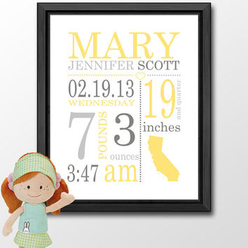 yellow grey custom birth stats baby birth print baby annoucements birth sign baby wall decor with stats birth details print nursery subway