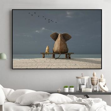 Canvas Wall Art: Buddies. Elephant And Dog Sunse, Early Morning, Canvas Print Wall Art