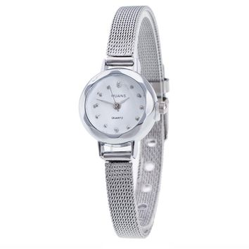 Women Ladies Stainless Steel Mesh Band Waterproof Wrist Watch