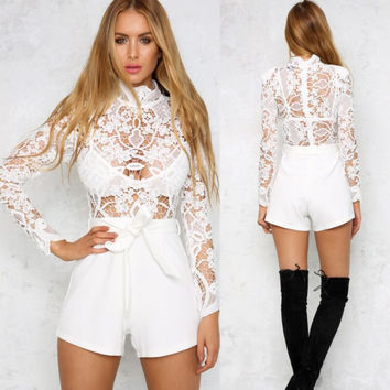 White Lace Hollow Out Long Sleeve High Neck Short Jumpsuit