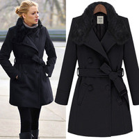 Star models in Europe and America rabbit fur collar belt long section of coats-LJ-1666 from GoBuy7