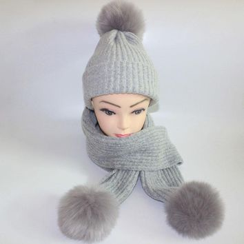 Warm women's winter hats scarves knitted Scarf and Hat Set British style Wool Crochet Cap Raccoo   Fox fur pompom hat scarf