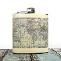 6 oz Stainless Steel - The Wanderlust Flask (TM) - Vintage Map