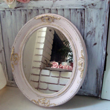Shabby Chic Pink Ornate Vintage Mirror, Oval Ornate Mirror with Gold Detail, Baby Pink Mirror, Nursery Decor