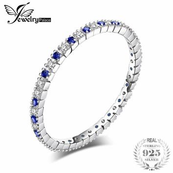 JewelryPalace Exquisite Round Created Blue Spinel Wedding Band Ring 100% 925 Sterling Silver Jewelry Newest Ring For Women