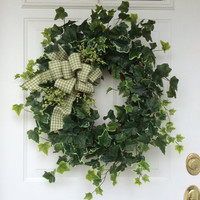 St. Patrick's Day Wreath-Spring Wreath-Ivy Wreath-Wreath-Spring Door Wreath-Greenery Wreath-Rustic Wreath-All Season Wreath