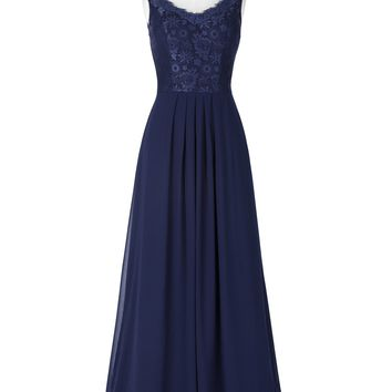 Chiffon Evening Dress Sleeveless V-Neck Lace Embroidery dresses for Wedding Long Evening Gowns