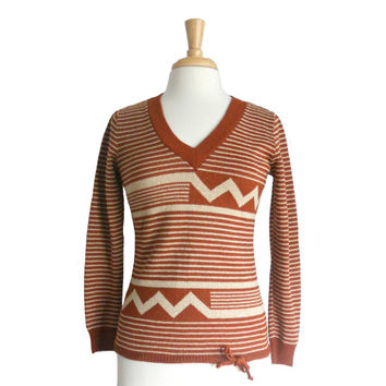 Vintage Sweater 1970s Knit V-Neck Asymmetrical Geometric and Striped Pattern - Rust and Cream Colors - Marbella Knits