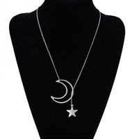 Vintage Silver Color Long Tassel Necklace Hollow Moon Star Pendant Necklace Fashion Jewelry for Women X17