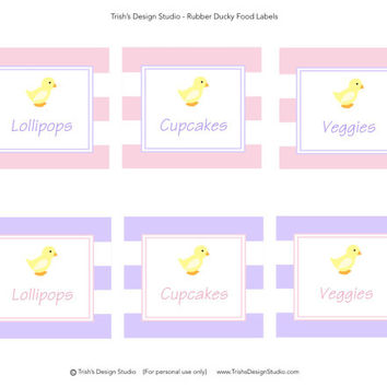 Pink and Purple Rubber Ducky Food Labels/Tents: INSTANT DOWNLOAD