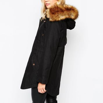 Parka London Lara Hooded Coat In Waxed Cotton