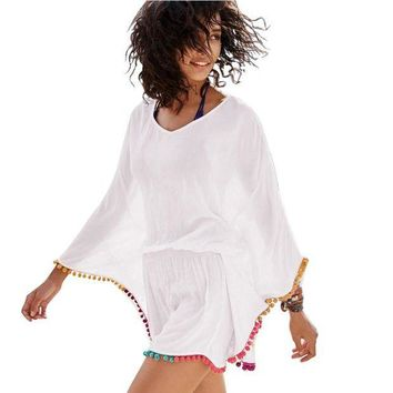 DCCKL6D Pareos Bikini Cover up Swimwear Women Swimsuit Beach Cover Up Color tassel ball Bathing Dress Chiffon Kaftan Beach Tunic Dress