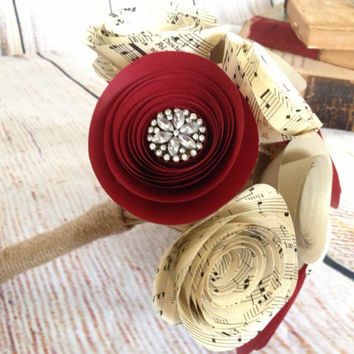 Bouquet paper music sheet, red flowers with rhinestones and gold shimmer champagne country wedding home decor shabby chic rose red