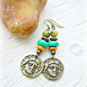 Gypsy Earrings - Gypsy Coin Earrings - Boho Hippie Earrings / Tribal Earrings / Ethnic Earrings / Yoga Earrings / Ethnic Jewelry