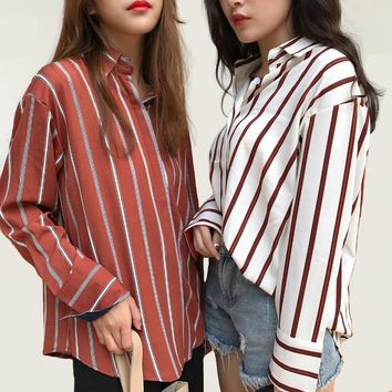 Blouse Limited Turn-down Collar Full Plus Size New Women's Lapel Striped Shirt Female Hit Color Long-sleeved