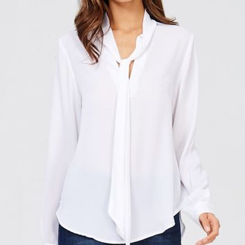 Day To Night White Long Sleeve Tie V Neck Blouse Top