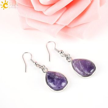 CSJA Fashion Natural Stone Hook Dangle Water Drop Earrings Solid Jewelry for Women Girl Purple Pink Green Gem Stone Dangler E165