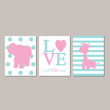 Girl ELEPHANT Nursery Wall Art Pink Teal Nursery Decor Baby Girl Pictures GIRAFFE Love Is All You Need Set of 3 Prints Or Canvas Art