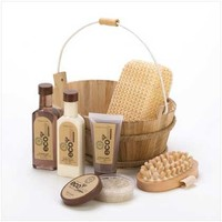 Eco Deluxe Bath Spa Set Sponge Massage Brush Gel Lotion