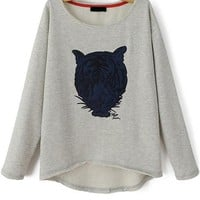 Whimsical Tiger Grey Sweatshirt - OASAP.com