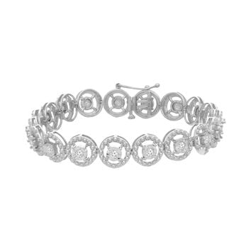 Sterling Silver 1.00ct TDW Round Cut Diamond Circle Link Bracelet (I-J,I3)