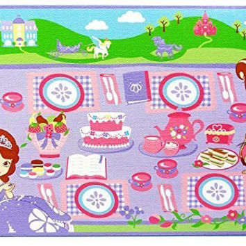 Disney Sofia the First Tea Party Game Rug Includes Tea Set For 2, 31.5 in x 44 in