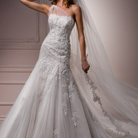 Ivory Over Oyster Lace & Tulle One Shoulder Fitted Bernadine Wedding Gown - Unique Vintage - Cocktail, Evening & Pinup Dresses