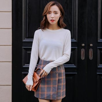 Plaid Print Button Decorate High Waist Bodycon Mini Skirt