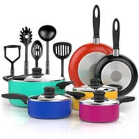 Vremi 15 Piece Nonstick Color Pop Cookware Set; 2 Saucepans and 2 Dutch Ovens with Glass Lids, 2 Fry Pans and 5 Nonstick Cooking Utensils; Oven Safe, PTFE and PFOA Free