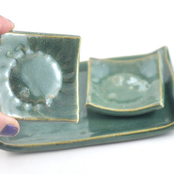 Green Ceramic Tapas and Condiment Dish on Serving Tray Sushi Set