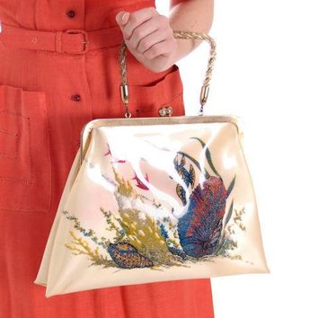 Vintage Hand Bag Whimsical Reverse Painted Seahorse Plastic Purse 1940S