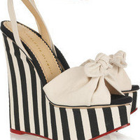 Charlotte Olympia | Meredith striped canvas wedge sandals | NET-A-PORTER.COM