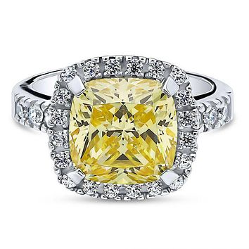 A Perfect 5.8CT Cushion Cut Canary Yellow Fancy Russian Lab Diamond Engagement Halo Ring