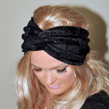 Black Headband Velour Turban Black Earwarmer Stretch Headwrap Twist Hair Wrap Ear Warmer Girly Romantic Gift under 25