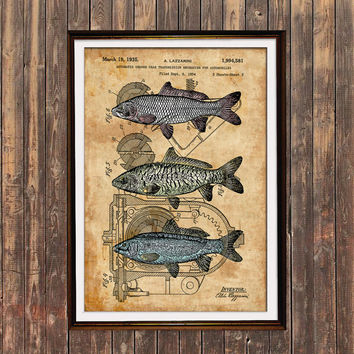 Fish decor Sealife poster Steampunk print Patent print SOL129