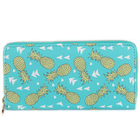 PINEAPPLE PRINT VINYL CLUTCH WALLET ZIPPER COIN POCKET