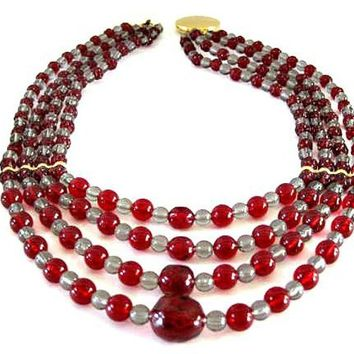 Monet Red Necklace, 4 Strands, Signed Monet, Lucite Red Gray Beads,  18 inch necklace Book Piece