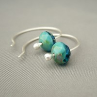 Ocean Blue Seascape Faceted Czech Glass and Sterling Silver Planet Earth Earrings | The Silver Forge Handcrafted Jewellery