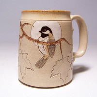 Black Capped Chickadee and Maple Leaf Large 16 oz Pottery Coffee  Mug Limited Series 89