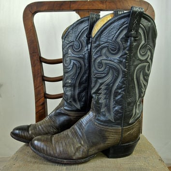Vintage Boots Tony Lama Rockabilly size 9D Grey Leather and Faux Crocodile Urban Cowboy