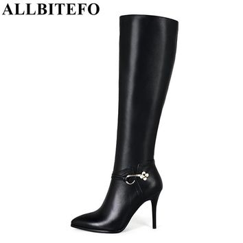 ALLBITEFO Large buckle sexy high heels boots genuine leather and PU fashion knee high boots