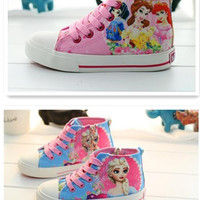 10pcs 2015 New Elsa and princess graffiti canvas shoes Snow White shoes women girl lace-up sneakers Cartoon canvas shoes 5pcs=1lot D158