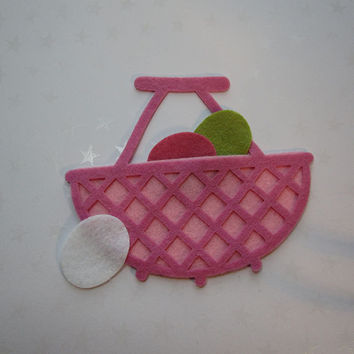 Spring rose and pink felt wicker style basket with eggs, felt cut out, die cut out, scrapbooking and embellishment, supply, Easter