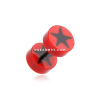 A Pair of Psych Star UV Acrylic Fake Gauge Plug Earring (Red)