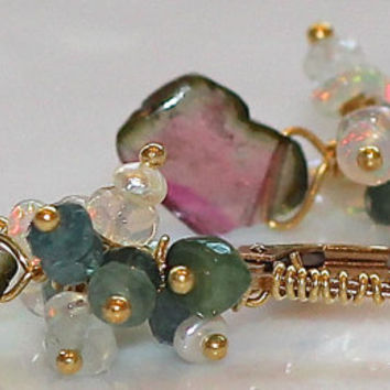 Juicy Watermelon Tourmaline Slice Keshi Pearl Ethiopian Opal Wire Wrap Gold Vermeil Lever Back Dangle Earrings