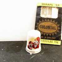 Avon Christmas Thimble Collectible Vintage Thimble 1983 Christmas Red White Blue Gold Thimble