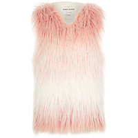 Girls pink faded shaggy gilet